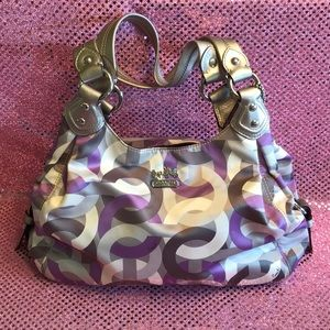 Coach Chain Link Maggie Purse Handbag Purple Gray